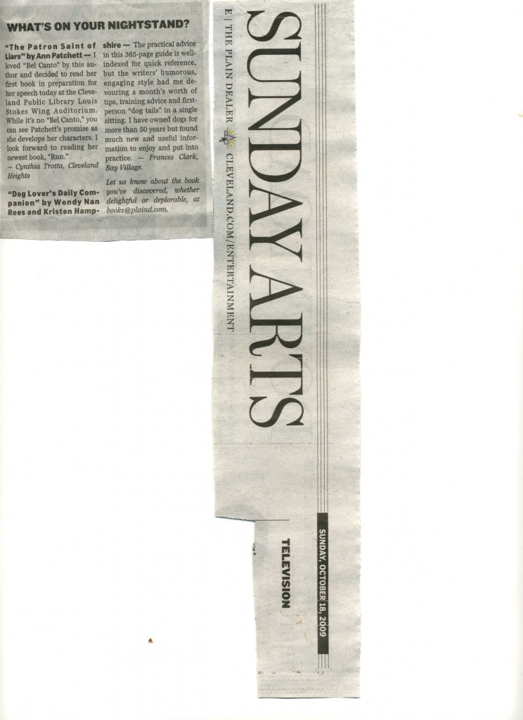 A positive review of Dog Lover's Daily Companion in Sunday's Plain Dealer